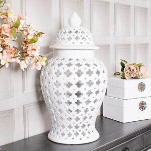 Large White Ginger Jar Storage Decor Display Lattice Home Decoration Vase Lid