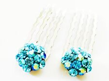 USA Mini Hair Comb Small Swarovski ELMT Crystal Bridal Wedding Sky Blue Party AB