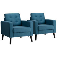 2PCS Modern Tufted Accent Chair Fabric Armchair Single Sofa w/Back Cushion Blue
