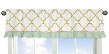 Window Treatment Valance Curtain For Sweet Jojo Gold Mint Coral Ava Bedding Set