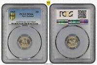 1965 NEW ZEALAND 3D THREE PENCE  BU PCGS MS66 OLD COIN ONLY 11 GRADED HIGHER