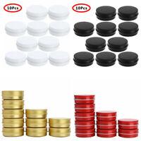 10 Small Mini Round Tin Can Metal Storage Box Jewelry Keys Container 30ml w/Lids