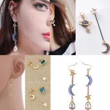 Korean Style Women Planet Earrings Moon Star Asymmetric Drop Dangle Jewelry