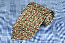 Tino Cosma Men's Tie Olive & Brown Circle Geometric Necktie 58 x 3.5 in. NEW
