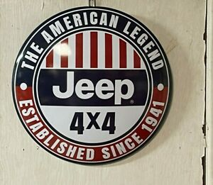 JEEP 4 X4 ~ LARGE ROUND DOME SIGN~MANCAVE ~THE AMERICAN LEGEND~ GARAGE ~ SHOP