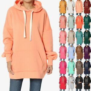 TheMogan S~3X Oversized Pullover Fleece Hooded Sweatshirt Oversized Tunic Hoodie