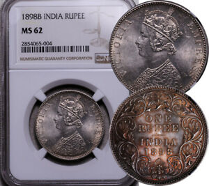 NGC MS-62 INDIA SILVER 1 RUPEE 1898 -B (TONED BEAUTY!)