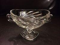 Beautiful Elegant Clear Cut Glass Footed Pedestal Candy Dish