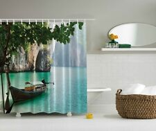 Tropical Lake Scene Shower Curtain Mountains Tree Leaves Boat Bath Decor