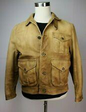Vintage Mens Polo Ralph Lauren Tan Leather Distressed Hunting Safari Jacket L