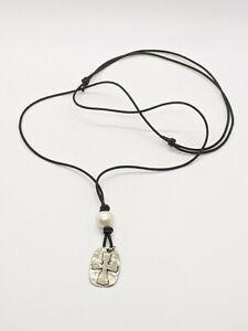 Silver Tone White Pearl Knights Templar Cross Cord Necklace