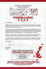 "Stephen Sondheim ""SWEENEY TODD"" John Doyle (Signed) 2004 London Trafalgar Flyer"