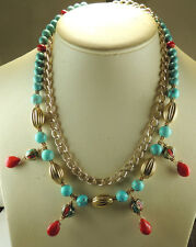 Statement Coral & Turquoise Nepalese Bead Necklace with Howlite & Chain Hamdmade