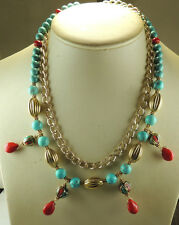 Statement Coral & Turquoise Nepalese Bead Necklace with Howlite & Chain Wedding