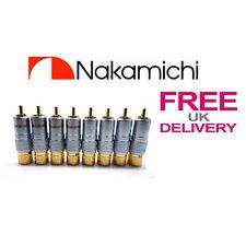 8x un. 24k Nakamichi Rca Jack Plug Locking Conector 10mm ** Reino Unido **