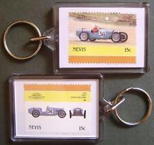 1930 RILEY Brooklands Nine Car Stamp Keyring (Auto 100 Automobile)