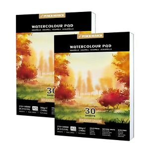 Watercolour Paper Pad 2* A5* 30 for Watercolour Painting 60 Sheets 300GSM