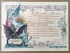 Gravure Gorguet Exposition Universelle 1900 Mexique Général Porfirio Díaz Stern