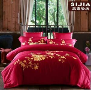 Luxury Egyptian Cotton Embroidery Bedding Set Noble Palace Bed Duvet Cover 4pcs