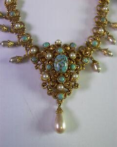 + pompöses Collier - alter Modeschmuck mit Perlen & Steine - 60er Jahre