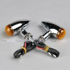 2x Mini Bullet Chrome Motorcycle ATV Turn Signal Bulb Indicator Light 12V Orange