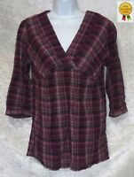 St Johns Bay Womens Knit Blouse Top V-Neck Plaid size S NEW