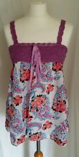 Miss Selfridge Pink White Coral Blue Floral Paisley Crocheted Smock Top Size 10