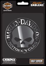 HARLEY DAVIDSON WILLIE G SKULL MOLDED CHROME 3.5 INCH DECAL