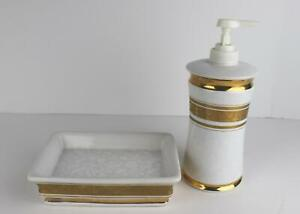 Croscill Bath Gold Accent Floral Soap Dispenser and Soap Dish