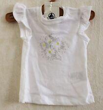 Neuf : Tee-shirt PETIT BATEAU 3 mois sans manches blanc marguerites bébé fille