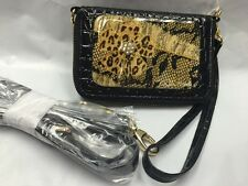 Debbie Brooks Wristlet Wallet Phone Black Gold CRYSTAL SAFARI Cross Body New Nwt