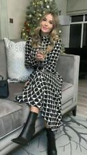 BNWT ZARA Black and White Geometric Long Printed Dress Size Medium