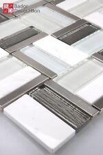 Mosaico de Vidrio Marmolado Blanco Gris Plata