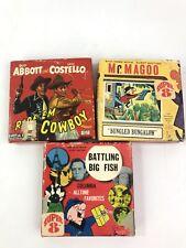 3 Vintage Super 8 Movies Reels Ride 'EM Cowboy, Mr.Magoo, and Battling Big Fish