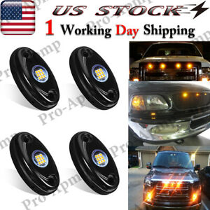 4X Amber Yellow LED Grilles Front Grille Light Waterproof Bumper Fog Lights 9W