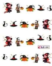 Halloween NAIL ART ADESIVI AD ACQUA trasferimenti gatto zucche strega Dracula (BJC41)