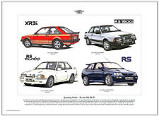 Ford ESCORT MKIII to MKV Print - Xr3i RS Turbo Rs1600i & RS Cosworth Illustrated