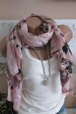 PAÑUELO DE SEDA bufanda rosa estampado flores ALGODÓN NOBLE lujo ITALY