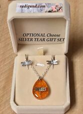 Dragonfly in Amber Resin Teardrop Gift Set Velvet Box Free Ship USA Outlander
