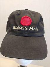 MAKER'S MARK BLACK STRAPBACK BASEBALL CAP HAT RED EMBROIDERED WAX RING LOGO