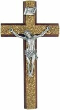 Religious Wooden Cross with Gold Tone Resin Overlay Catholic Wall Crucifix, 8 In