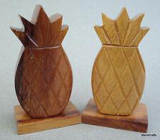 Salt & Pepper Shakers Pineapple Fruit Wooden Hawaiian Tiki Figural Barware Corks