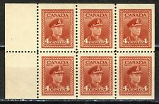 1942-3 #254ai(GIFT BOOKLET) 4¢  KING GEORGE VI WAR ISSUE BOOKLET PANES F-VFNH