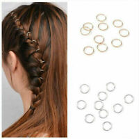 50pcs Hip-Hop Braid Gold Silver Ring Hair Clip Pin Clips Hair Accessory COO I1L4