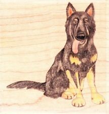 ALSATION DOG - Jolly Nation - Wood Mounted Rubber Stamp