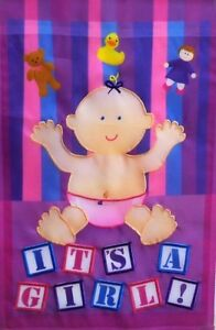 """It's a Girl Outdoor Garden Flag by Premier 12""""x18"""", #1798  New Baby"""