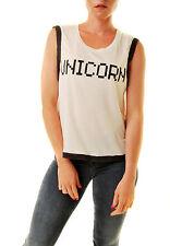 Wildfox Women's Unicorn Barback Tank Top Glitter White Size M RRP £54 BCF611