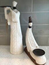 """Pair of Volcanic Stone Oriental Woman Statues Incense Burner Mt. Pinatubo 16"""""""