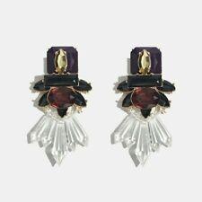 Crystal Statement Chunky Big Earrings. Rhinestone Gold Zara Fashion Style Studs