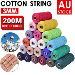 3mm 200m Multi Color Cotton Twisted Cord Craft Macrame Artisan Rope Craft String